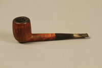 2012.427.3 left side Barling's briar wood straight billiard pipe used by American soldier and liberator  Click to enlarge