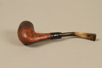 2012.427.4 left side Briar wood bent Dublin pipe used by American soldier and liberator  Click to enlarge