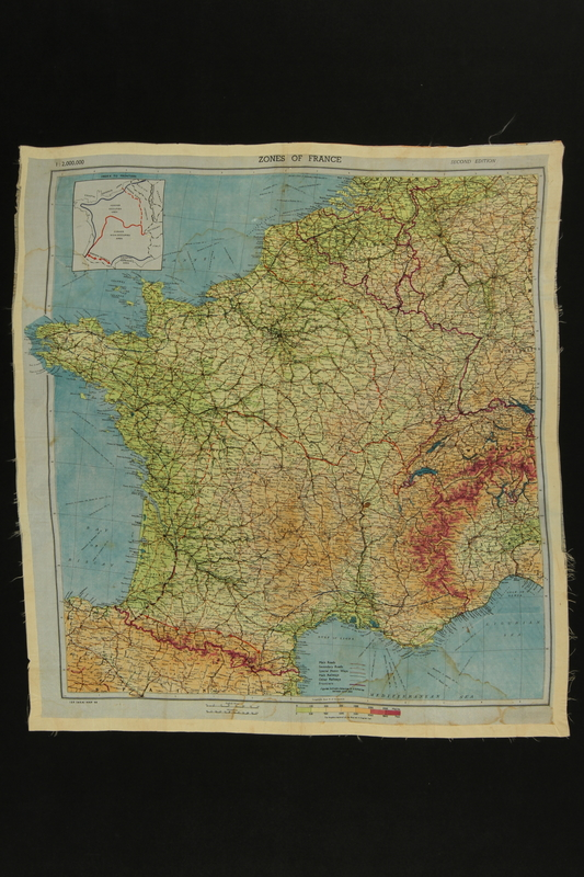 2012.427.5 front Silk escape map of France owned by a US soldier