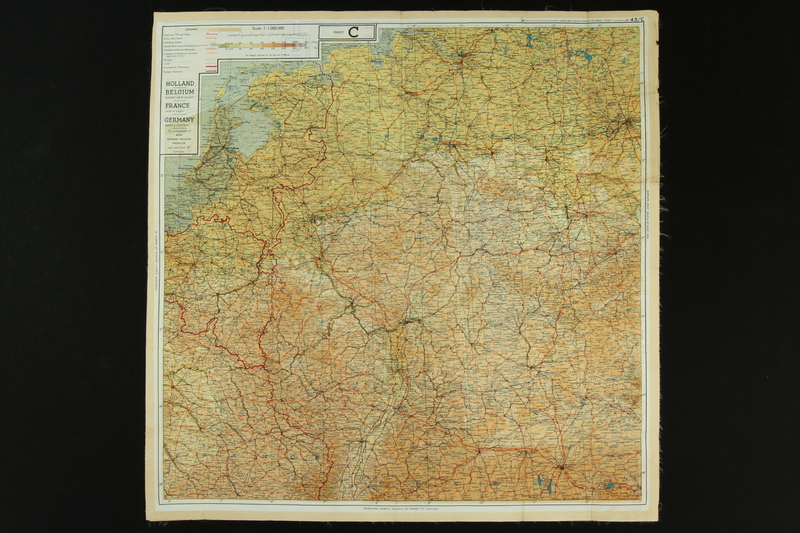 2012.427.6 front Two-sided silk escape map of Western Europe owned by US soldier and liberator