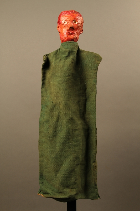 2017.213.5 front Red haired hand puppet created by a German Jewish Holocaust survivor and World War II veteran