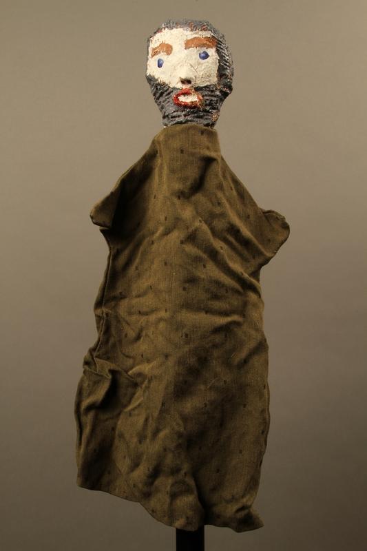2017.213.10 front Bearded man hand puppet created by a German Jewish Holocaust survivor and World War II veteran