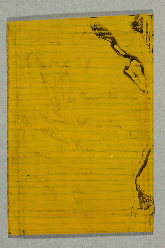 2009.297.2 back Offset lithographic printing plate depicting Percy Brand holding his violin