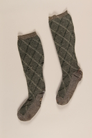 1991.88.4_a-b front Green and grey wool socks  Click to enlarge