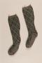 Green and grey wool socks