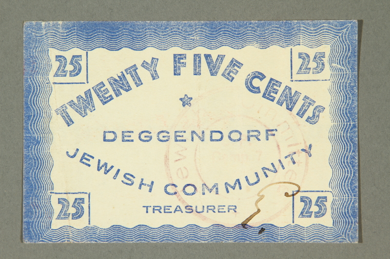2011.447.11.7 front Deggendorf displaced persons camp scrip, 25 cents, acquired by a US soldier