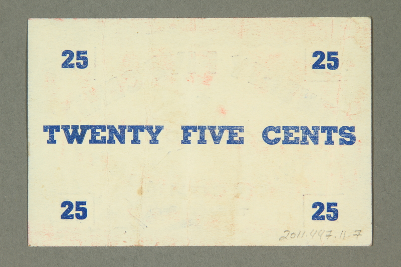 2011.447.11.7 back Deggendorf displaced persons camp scrip, 25 cents, acquired by a US soldier