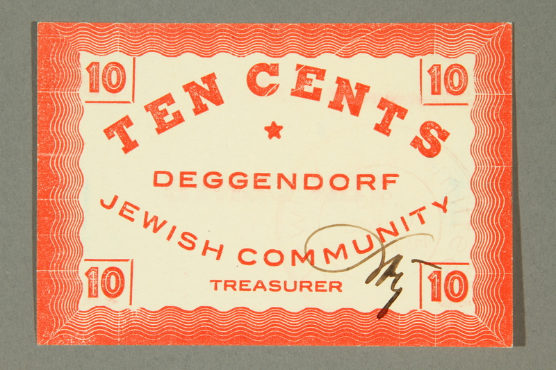 2011.447.11.8 front Deggendorf displaced persons camp scrip, 10 cents, acquired by a US soldier
