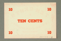 2011.447.11.8 back Deggendorf displaced persons camp scrip, 10 cents, acquired by a US soldier  Click to enlarge