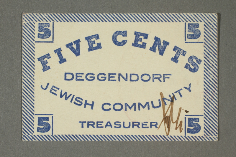 2011.447.11.9 front Deggendorf displaced persons camp scrip, 5 cents, acquired by a US soldier