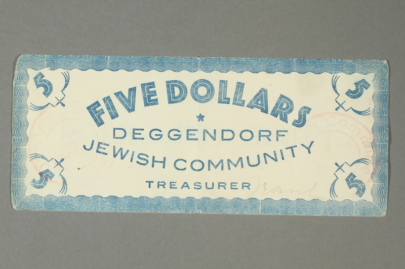 2011.447.11.11 front Deggendorf displaced persons camp scrip, 5 dollars, acquired by a US soldier