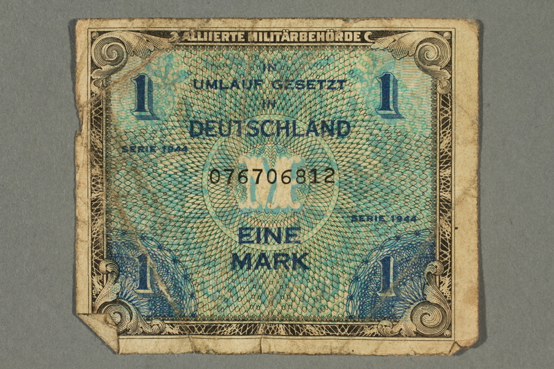 2017.226.2 front Allied Military, 1 mark note, acquired by American soldier assigned to Nuremberg Trials