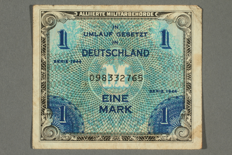 2017.226.3 front Allied Military, 1 mark note, acquired by American soldier assigned to Nuremberg Trials
