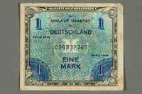 2017.226.3 front Allied Military, 1 mark note, acquired by American soldier assigned to Nuremberg Trials  Click to enlarge