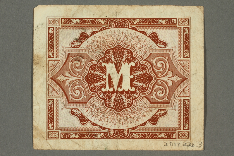 2017.226.3 back Allied Military, 1 mark note, acquired by American soldier assigned to Nuremberg Trials