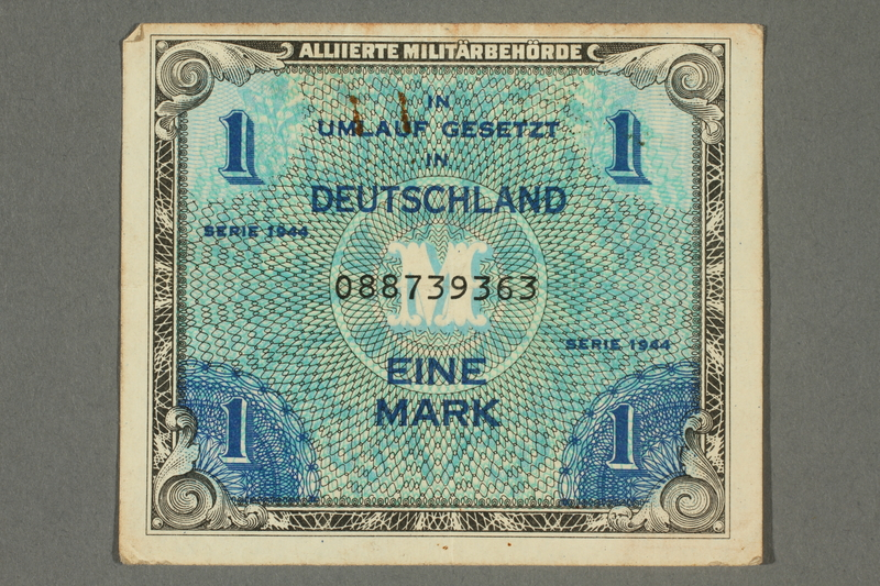 2017.226.4 front Allied Military, 1 mark note, acquired by American soldier assigned to Nuremberg Trials