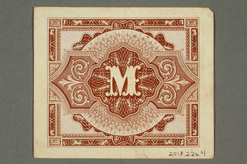 2017.226.4 back Allied Military, 1 mark note, acquired by American soldier assigned to Nuremberg Trials