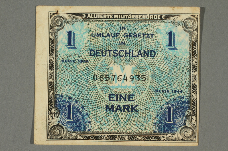 2017.226.5 front Allied Military, 1 mark note, acquired by American soldier assigned to Nuremberg Trials