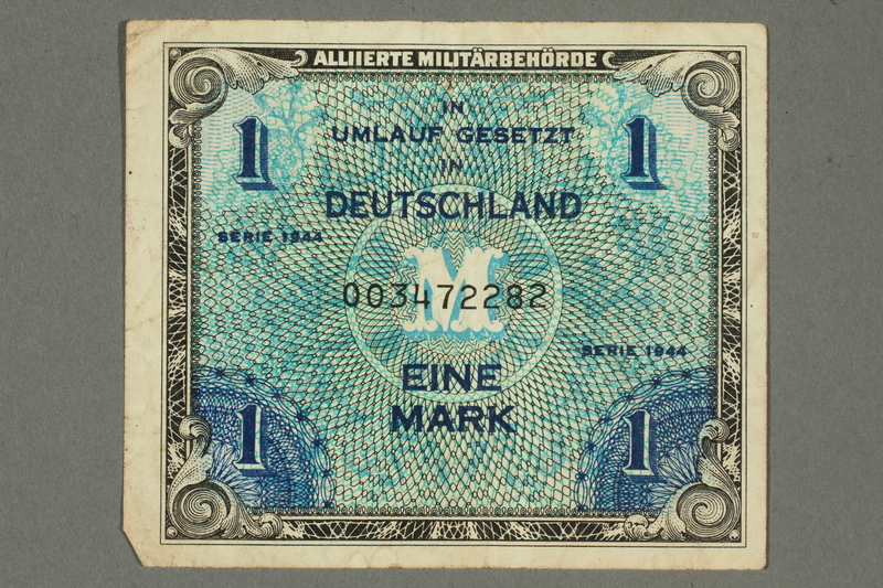 2017.226.6 front Allied Military, 1 mark note, acquired by American soldier assigned to Nuremberg Trials