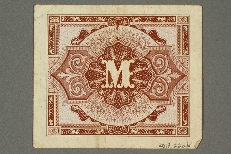 2017.226.6 back Allied Military, 1 mark note, acquired by American soldier assigned to Nuremberg Trials