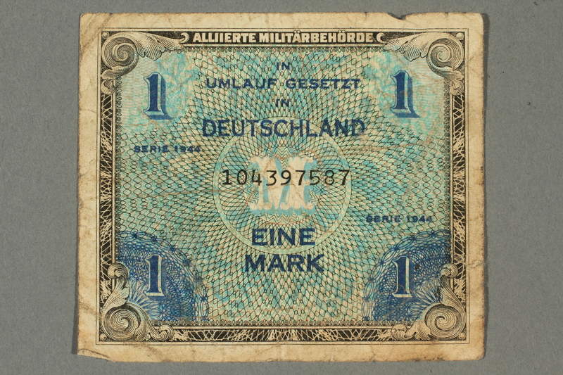 2017.226.7 front Allied Military, 1 mark note, acquired by American soldier assigned to Nuremberg Trials