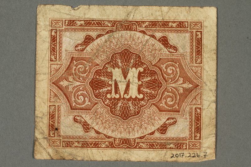 2017.226.7 back Allied Military, 1 mark note, acquired by American soldier assigned to Nuremberg Trials