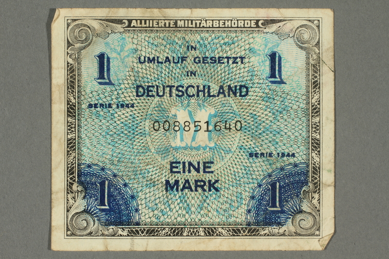 2017.226.8 front Allied Military, 1 mark note, acquired by American soldier assigned to Nuremberg Trials