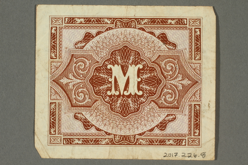 2017.226.8 back Allied Military, 1 mark note, acquired by American soldier assigned to Nuremberg Trials