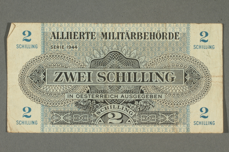 2017.226.9 front Allied Military Authority, 2 schilling note for use in Austria acquired by American soldier