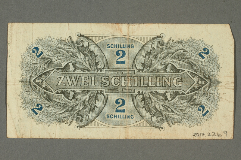 2017.226.9 back Allied Military Authority, 2 schilling note for use in Austria acquired by American soldier