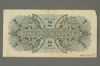 2017.226.9 back Allied Military Authority, 2 schilling note for use in Austria acquired by American soldier  Click to enlarge