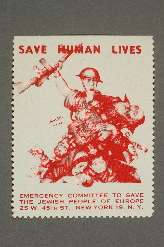 2017.227.9 front US poster stamp encouraging people to donate to a humanitarian organization