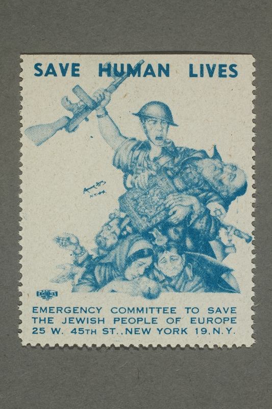 2017.227.10 front US poster stamp encouraging people to donate to a humanitarian organization