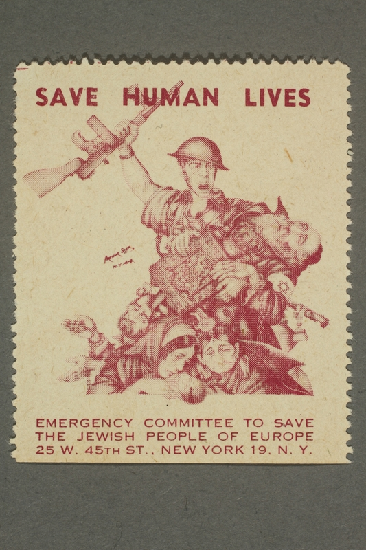 2017.227.11 front US poster stamp encouraging people to donate to a humanitarian organization