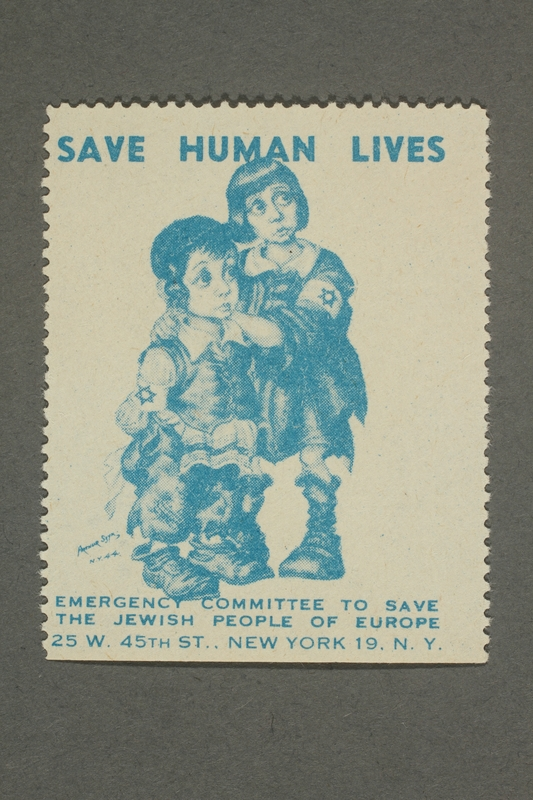 2017.227.17 front US poster stamp encouraging people to donate to a humanitarian organization