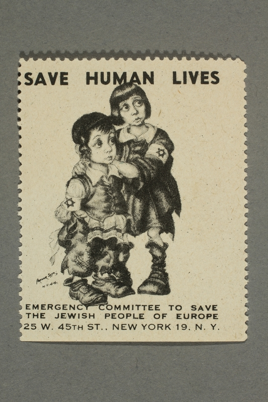 2017.227.18 front US poster stamp encouraging people to donate to a humanitarian organization
