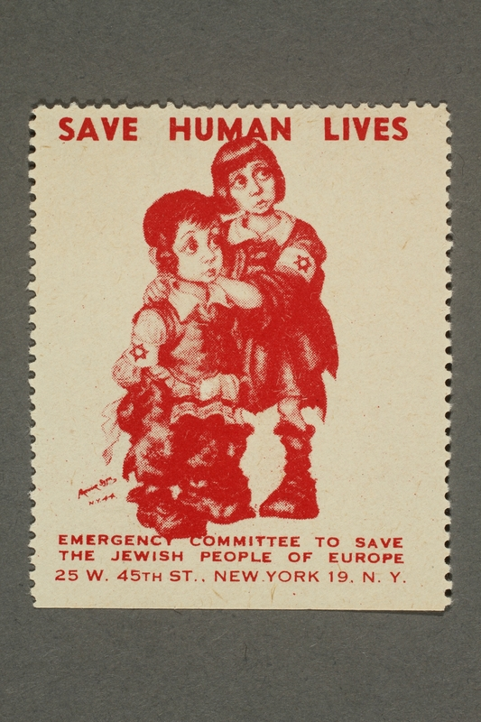 2017.227.19 front US poster stamp encouraging people to donate to a humanitarian organization