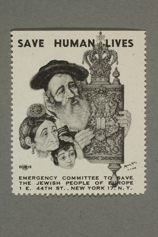 2017.227.20 front US poster stamp encouraging people to donate to a humanitarian organization