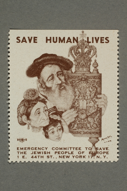 2017.227.22 front US poster stamp encouraging people to donate to a humanitarian organization
