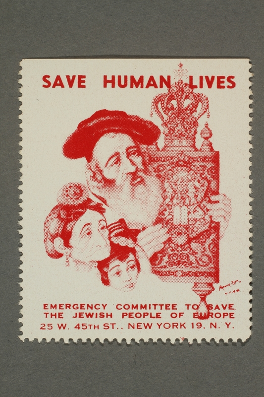 2017.227.23 front US poster stamp encouraging people to donate to a humanitarian organization