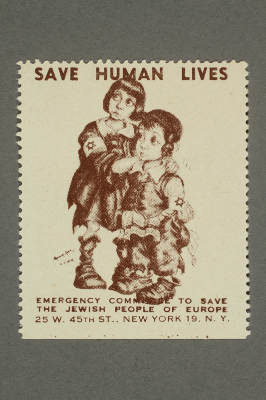 2017.227.27 front US poster stamp encouraging people to donate to a humanitarian organization