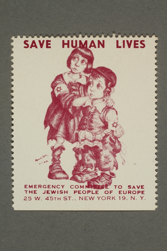 2017.227.28 front US poster stamp encouraging people to donate to a humanitarian organization