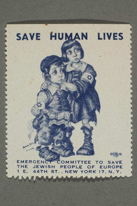 2017.227.30 front US poster stamp encouraging people to donate to a humanitarian organization