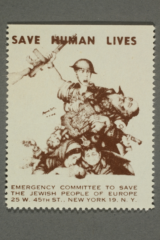 2017.227.32 front US poster stamp encouraging people to donate to a humanitarian organization