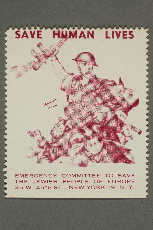 2017.227.33 front US poster stamp encouraging people to donate to a humanitarian organization