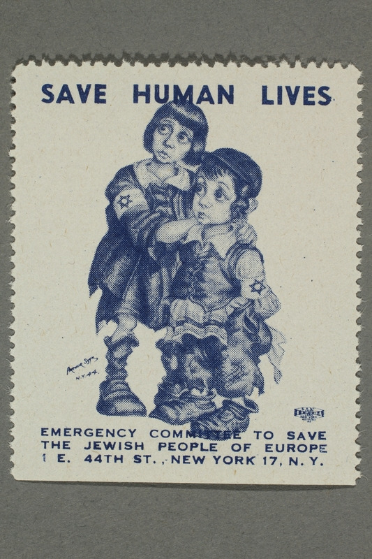 2017.227.35 front US poster stamp encouraging people to donate to a humanitarian organization