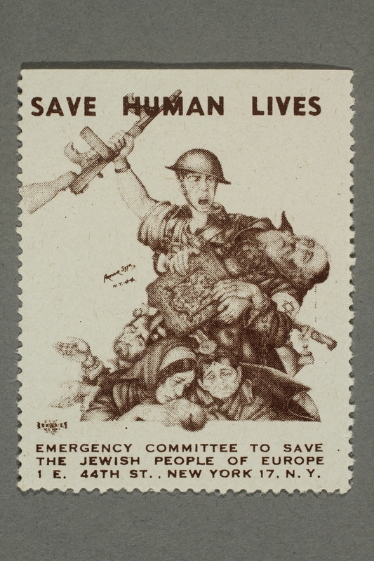 2017.227.36 front US poster stamp encouraging people to donate to a humanitarian organization