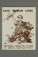2017.227.36 front US poster stamp encouraging people to donate to a humanitarian organization  Click to enlarge