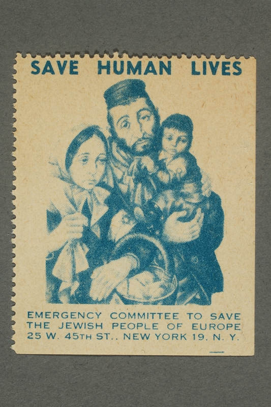 2017.227.38 front US poster stamp encouraging people to donate to a humanitarian organization