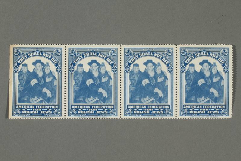 2017.227.39 front Set of US poster stamps encouraging people to donate to a humanitarian organization